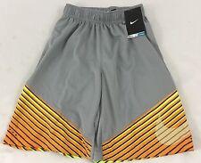 Nike Elite Boys Youth Athletic Gym Shorts Gray Multicolor Stripe 724735 Size M