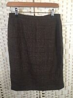 JAEGER Vintage Brown Tweed Check Wool Mix Smart Winter Skirt 8/10 Straight Zip