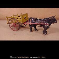Antique Kenton Cast Iron Ox Cart Toy