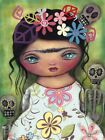 Muertos Fest by Abril Andrade Frida Kahlo Girl Mexican Skeleton Canvas Art Print