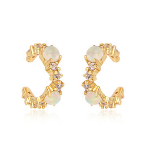 Ethiopian Opal Gemstone 925 Silver Gold Plated Cz Designer Ear cuff Earrings