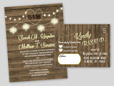 Wedding Invitations Country Bridal Shower Invitation RSVP Card Wood Look Set 75
