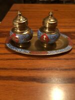 VINTAGE ENAMELED BRASS SALT AND PEPPER SHAKERS WITH TRAY ORIENTAL BLUE/RED