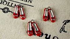 Red shoes 3 silver charms ruby slippers jewellery supplies C264