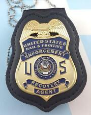 Fugitive Recovery Agent  Badge Leather Holder Belt Clip  Gold Plating blue us