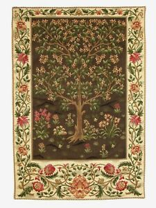 """26"""" X 18"""" TREE OF LIFE WM MORRIS LINED BELGIAN TAPESTRY WALL HANGING, ROD SLEEVE"""