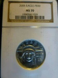 2005 EAGLE 1/2 OUNCE CERTIFIED PLATINUM MS 70