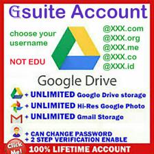 gsuite lifetime UNLIMITED google drive / GDrive 👍 Custom USER NAME 👌 not .edu