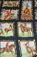 King of the Ranch cowboys retro western panel fabric