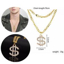 "K753 argent USA Dollar Signe Perle Cage Médaillon Collier Pendentif 18/"" Charms"