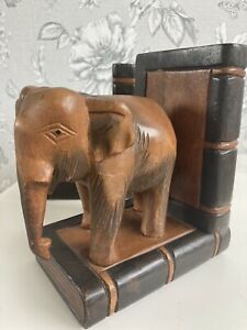 Pair Of Old Carved Wooden Elephant Book Ends