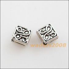 60 New Charms Tibetan Silver Tone Flower Square Spacer Beads 5mm