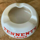 Tennet's Lager Round Ashtray  White w/ Red Lettering Wade England Advertising