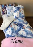 "Frozen 18"" Girl Doll Bed Bedding American made Personalized Any Name"