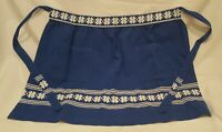 Vintage Half Apron MCM Pockets Machine Embroidered Blue White