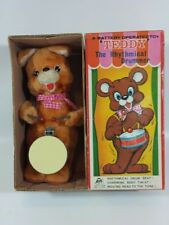 VINTAGE 1960's BATTERY OPERATED TEDDY THE RHYTHMICAL DRUMMER JAPAN TOY & BOX