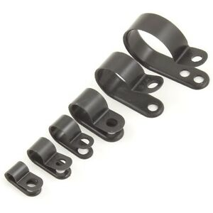 Nylon Black Plastic P Clips - Fasteners for Cable, Conduit, Tubing, Sleeving Etc