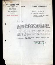 "PARIS (III°) BALAIS pour DYNAMOS & MOTEURS ""Ets MARSHALL"" en 1936"