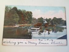Old Postcard Boat Lake Druid Hill Park Baltimore Maryland USA Franked 1906