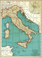 1939 Antique MAP of ITALY Original Vintage Italy Map Gallery Wall Art 8079