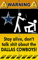 3 - GLOSSY DECAL STICKER NFL FOOTBALL DALLAS COWBOYS FUNNY WARNING SIGNS