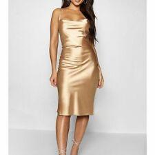 BOOHOO Gold Satin Cowl Neck Midi Slip Dress   (fj237)
