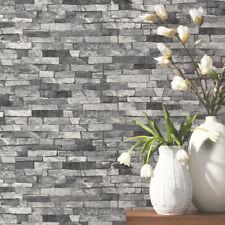 P&S Textured Brick Effect Wallpaper Charcoal Grey Black Shading Wallpaper
