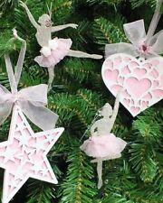 8pc Pink Silver Ballerina Christmas Tree Decorations