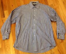 Hickey-Freeman 16/34 Blue Stripe Cotton Legacy Broadcloth Dress Shirt Made USA