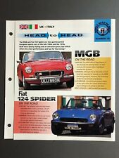 "MGB vs. Fiat 145 Spider ""Head to Head"" IMP ""Hot Cars"" Spec Sheet Awesome L@@K"