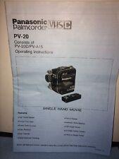 PANASONIC MODEL PV-20 VHS-C PALMCORDER / CAMCORDER INSTRUCTION / OWNERS MANUAL