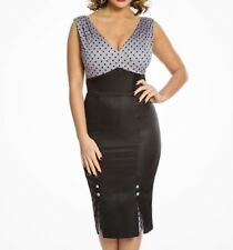Y54# Lindy Bop Vally Black & Grey Polka Dot Pencil Dress Size 22 RRP £32.00