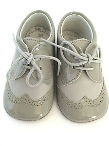 De Osu baby crib shoe EURO 20 US 4 grey patent leather wing tip lace up