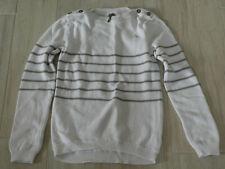 1123 - Pull coton marin rayé blanc/gris 12 ans ORCHESTRA neuf, sans étiquettes