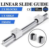 1 set SBR25-530mm Linear Slide Guide Rail Shaft 2 SBR25UU Bearing Block
