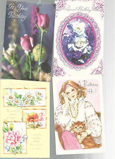 Vintage Unused Fantusy Greeting Cards Birthday Lot Of 4 With Envelopes