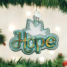 HOPE AQUA DOVE BIRD OLD WORLD CHRISTMAS GLASS INSPIRATIONAL ORNAMENT NWT 36211