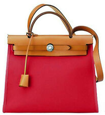 NEW! Authentic HERMES Herbag Zip Canvas Rouge garance RED 31cm PM Kelly Lock bag