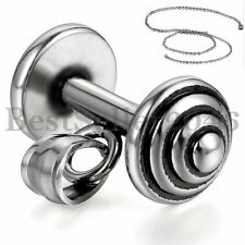 """Weight Plate Barbell Pendant Stainless Steel Necklace Sports Gym Free Chain 22"""""""