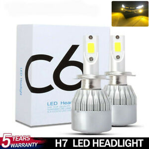 2x H7 LED Headlight Kit Bulb Car Auto Replacement Lamp 3000K Yellow 100W 20000LM