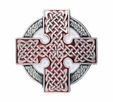 Celtic Cross Round Belt Buckle - Red