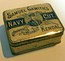 More details for antique samuel gawith's kendal navy cut tobacco tin empty 10 x 8x 4 cm's