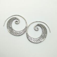 Fine Silver Sterling 925 Earrings Hoop Styles Vintage Luxury Spiral Round Theme