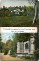 uralte AK, Riesengebirge, Rastauration zum Moltke-Felsen, Moltke-Denkmal