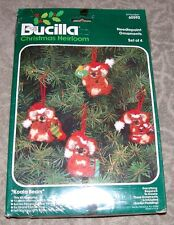 "Vintage Bucilla ""Koala Bears Ornaments"" Christmas Needlepoint Kit"