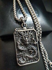 Mens Large Chunky Silver Chinese Dragon Zodiac Amulet Medallion Necklace XMAS