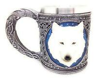 Celtic Snow White Wolf Mug 16oz Resin Totem Spirit Cup New 12306