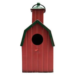 Country Side Metal Barn Birdhouse Outdoor Farmhouse Chic Hanging Garden Décor