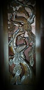Balinese~Peacock~Wall Art Panel~Hand Carved Wood~STUNNING