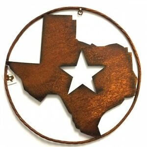 """18"""" STATE OF TEXAS RUSTY METAL WALL ART WESTERN HOME DECOR NATURAL RUSTIC ART"""